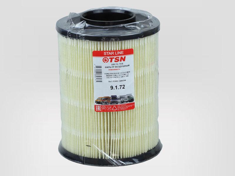 9172 - TSN. Фильтр воздушный для бензиновых ДВС (FORD C-Max, Ford Focus, Ford Kuga, Mazda 3, Volvo S40).